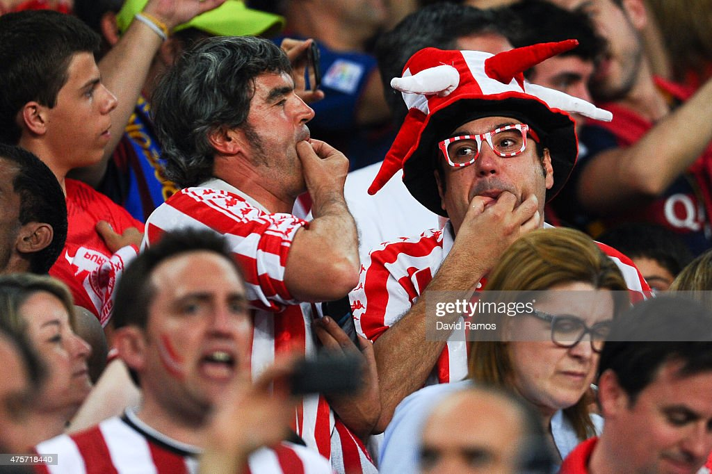 Athletic Club de Bilbao fans protest as Spanish national anthem plays prior to the Copa del Rey Final match between FC Barcelona and Athletic Club at...