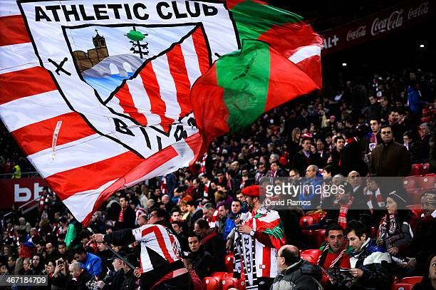Athletic Club fans cheer up their team during the La Liga match between Athletic Club and Real Madrid CF at San Mames Stadium on February 2 2014 in...