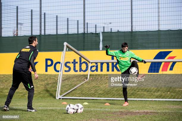 Athletic Coach Alexander Mouhcine and Lars Stindl of Borussia Moenchengladbach during a Training Session at BorussiaPark on March 22 2017 in...