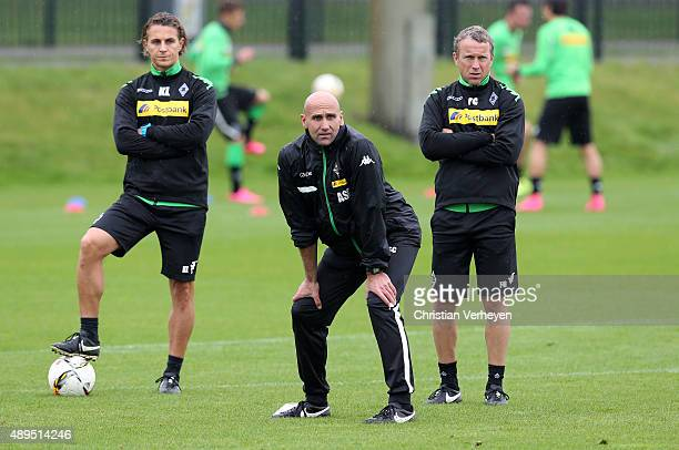 Athletic Coach Klaus Luisser Head Coach Andre Schubert and Co Trainer Frank Geideck of Borussia Moenchengladbach during a training session at...