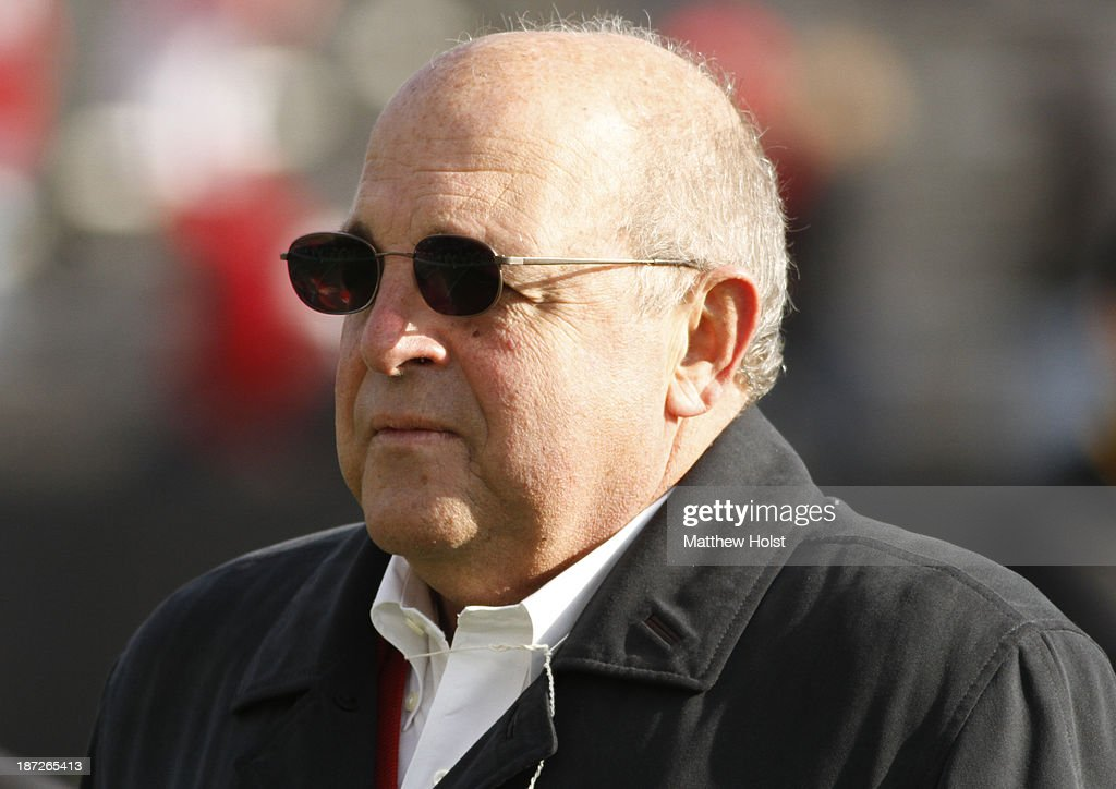 Athletic director <a gi-track='captionPersonalityLinkClicked' href=/galleries/search?phrase=Barry+Alvarez&family=editorial&specificpeople=239480 ng-click='$event.stopPropagation()'>Barry Alvarez</a> of the Wisconsin Badgers before the match-up against the Iowa Hawkeyes on November 2, 2013 at Kinnick Stadium in Iowa City, Iowa.