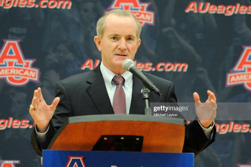 Athletic director Billy Walker addresses the media to announce Mike Brennan as the new basketball coach at American University on April 30, 2013 at Bender Arena in Washington, DC.