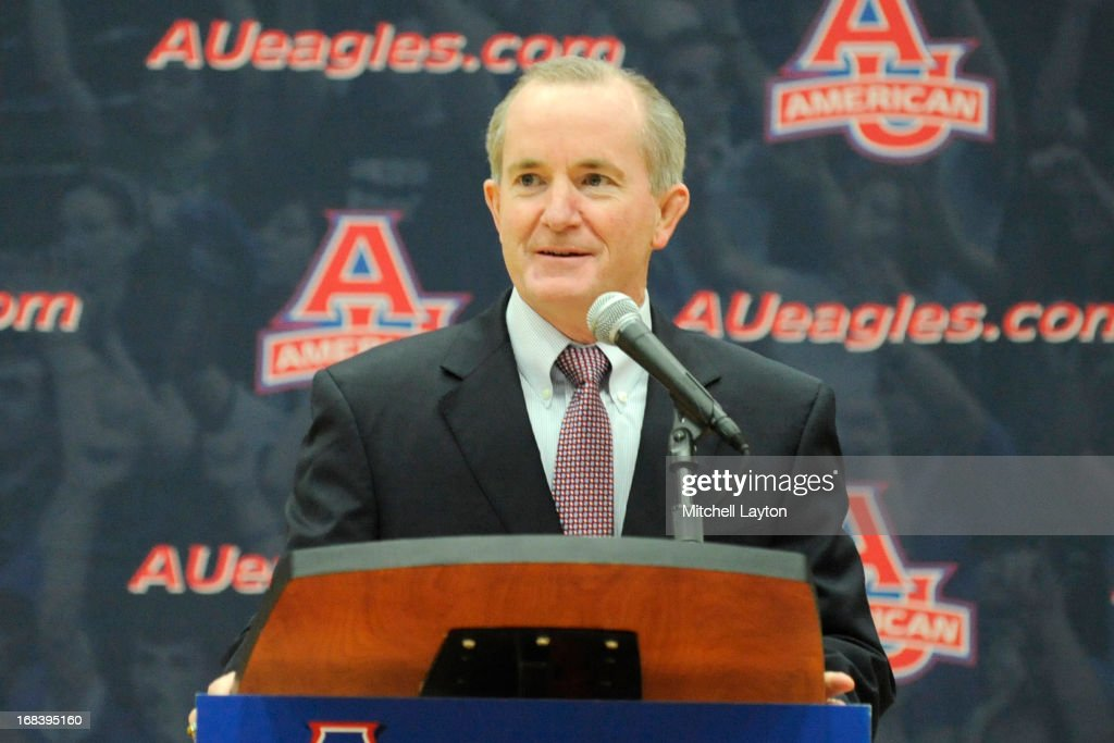 Athletic director Billy Walker addresses the media to announce Mike Brennan as the new mens basketball coach at American University on April 30, 2013 at Bender Arena in Washington, DC.