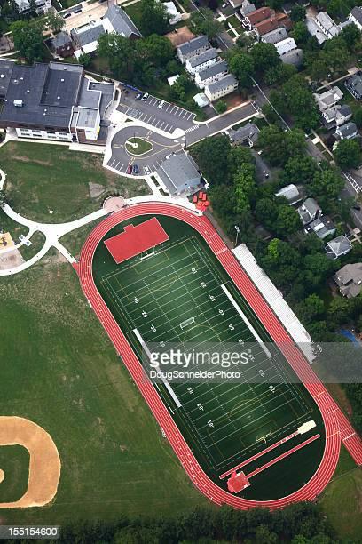 Vue aérienne du terrain de sport