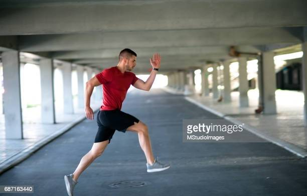 Athletic man working out.
