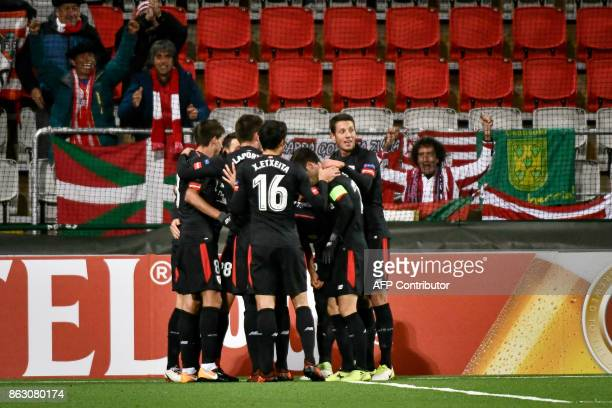 Athletic players celebrates after Aritz Aduriz scored the opening goal during the UEFA Europa League group F fotball match Ostersund v Athletic...
