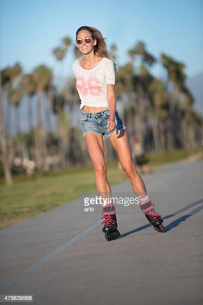 Athletic Woman Skating at Sunset, Santa Barbara, California