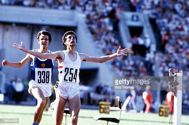 Athletics 1980 Moscow Olympics Sebastian Coe of Great Britain pictured winning the 1500 metres