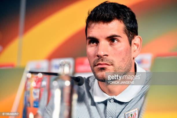 Athletic's goalkeeper Iago Herrerin takes part in a press conference on October 19 in Genk on the eve of the e Europa League football match agains RC...