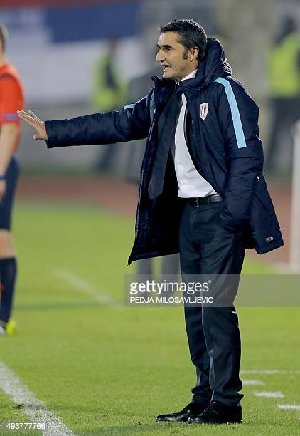 Athletic's head coach Ernesto Valverde gestures during the UEFA Europa League Group L football match between Partizan and Athletic Bilbao at the FK...