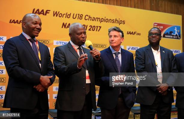 Athletics Kenya President Jackson Tuwei speaks to the media during a press conference ahead of the IAAF U18 World Championships on July 11 2017 in...