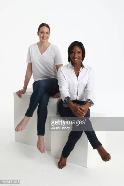Athletics legends Kelly Sotherton and Denise Lewis pose at a photoshoot to celebrate Britains strong female Athletics heritage ahead of International...