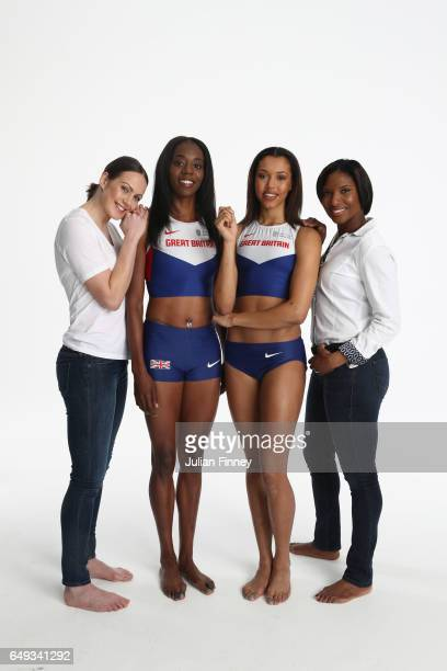 Athletics legends Kelly Sotherton and Denise Lewis pose with Long Jumper Lorraine Ugen of Great Britain and High Jumper Morgan Lake of Great Britain...