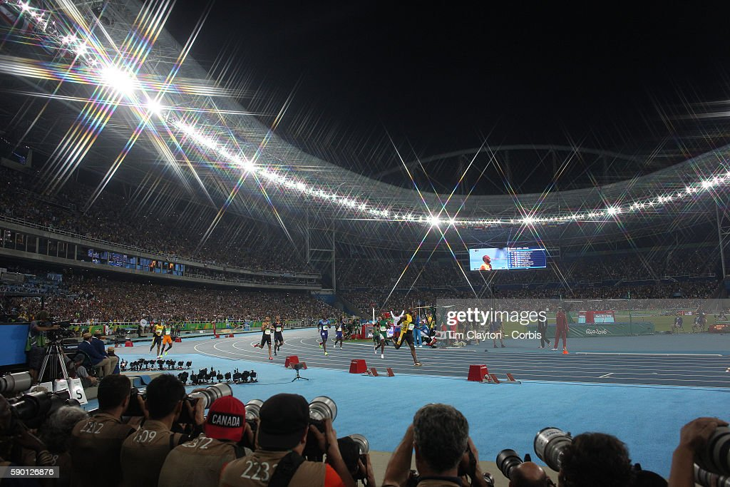 Day 9 A general view of Usain Bolt of Jamaica winning the Men's 100m Final at the Olympic Stadium on August 14 2016 in Rio de Janeiro Brazil 'n'n