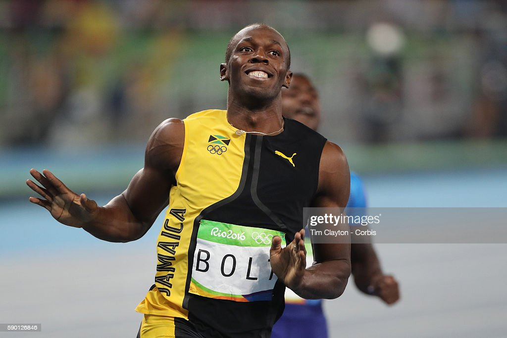 Day 9 Usain Bolt of Jamaica wins the Men's 100m Final at the Olympic Stadium on August 14 2016 in Rio de Janeiro Brazil