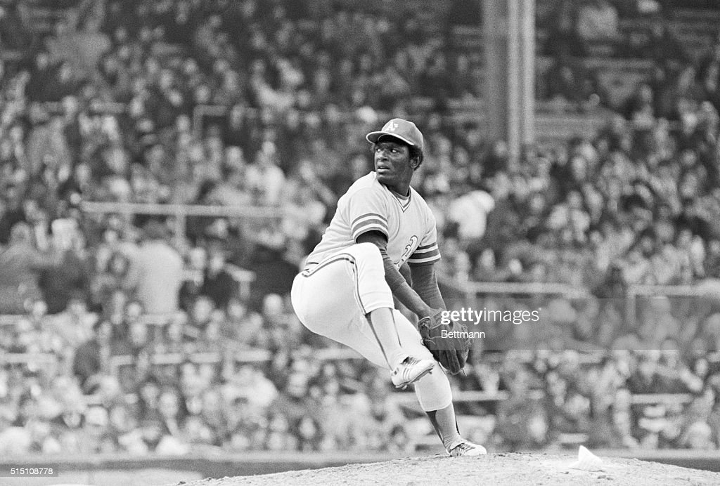 Athletics pitcher Vida Blue delivers a pitch during an opening day game against the Chicago White Sox at Comiskey Park Blue the 1971 AL MVP and Cy...