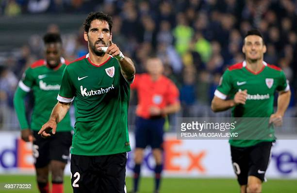 Athletic's Raul Garcia celebrates his goal during the UEFA Europa League Group L football match between Partizan and Athletic Bilbao at the FK...