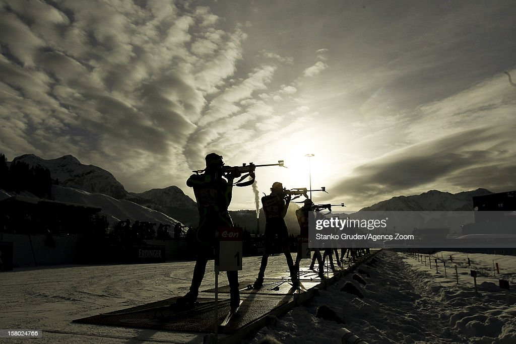 Athlets during the IBU Biathlon World Cup Women's Relay on December 09, 2012 in Hochfilzen, Austria.