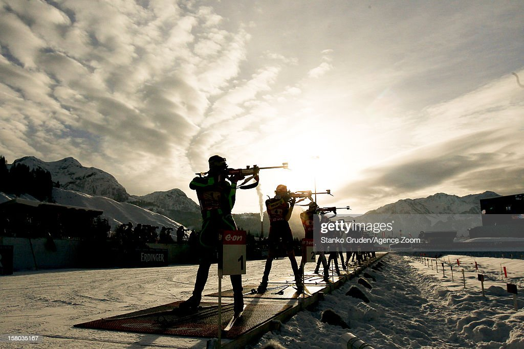 Athlets during the IBU Biathlon World Cup WomenÕs Relay on December 09, 2012 in Hochfilzen, Austria.