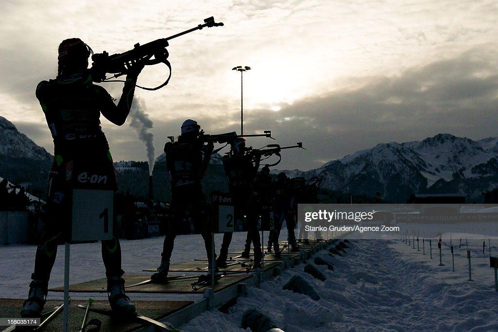 Athlets during the IBU Biathlon World Cup WomenÕs Relay on December 09, 2012 in Hochfilzen, Austria.