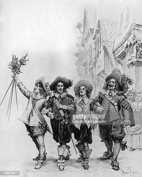 Athos Porthos Aramis and D'Artagnan illustration for The Three Musketeers by Alexandre Dumas