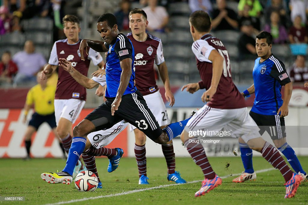 Atiba Harris of San Jose Earthquakes strikes the ball for a goal against the Colorado Rapids in the 94th minute to tie the score 11 at Dick's...