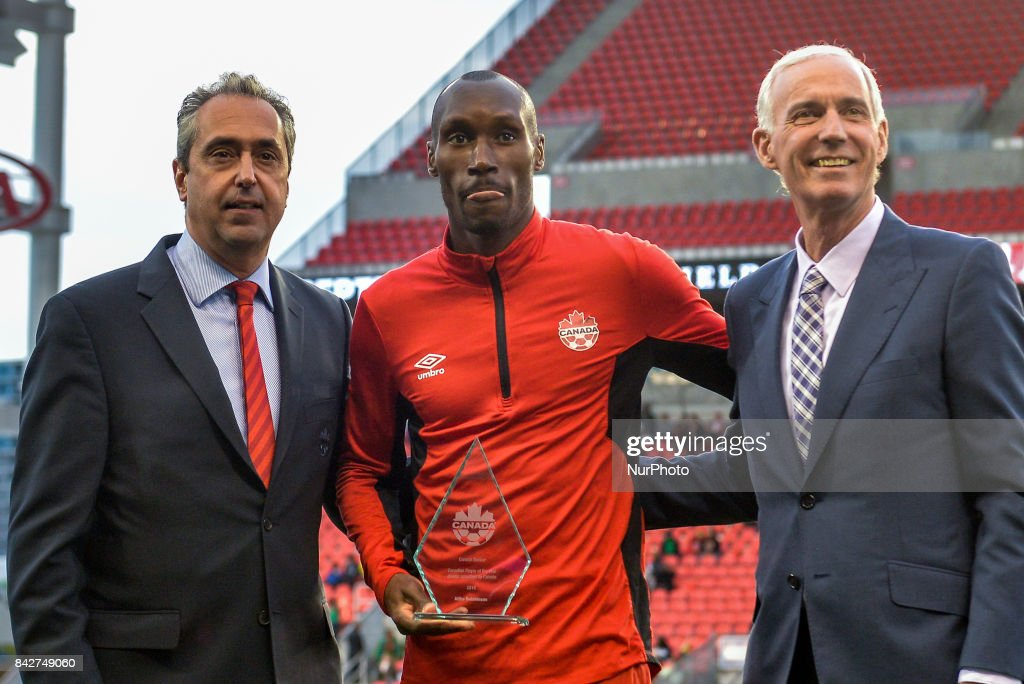 Atiba Hutchinson for winning his record fifth Canadian Player of the Year award before the Canada-Jamaica Mens International Friendly match at BMO Field in Toronto, Canada, on 2 September 2017.