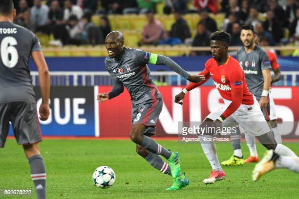 Atiba Hutchinson of Besiktas and Keita Balde of Monaco during the UEFA Champions League match between AS Monaco and Besiktas Istanbul at Stade Louis...