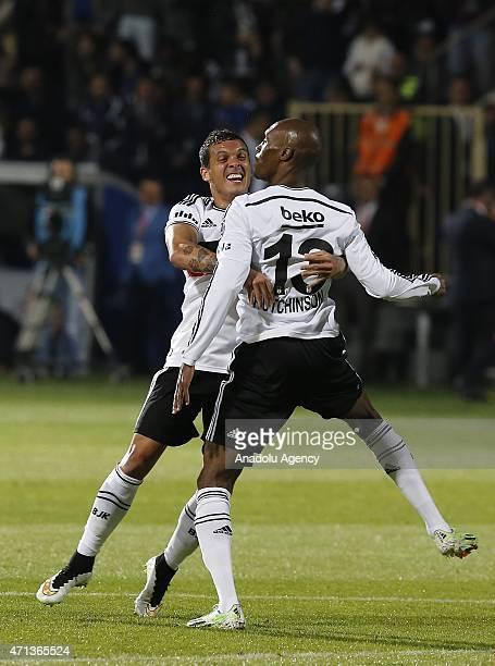 Atiba Hutchinson of Besiktas celebrates his score during the Turkish Spor Toto Super League soccer match between Besiktas and Kardemir Karabukspor at...