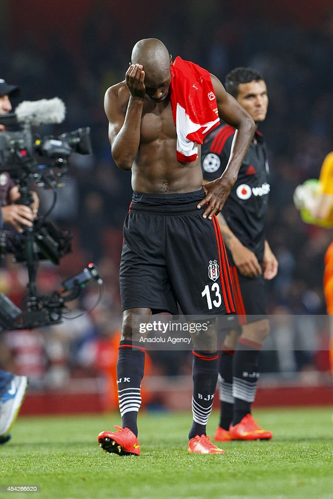 Atiba Hutchinson of Besiktas is sad after the UEFA Champions League play-off second leg match between Arsenal and Besiktas at Emirates Stadium on August 27, 2014 in London, England.