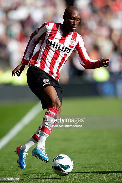 Atiba Hutchinson of PSV in action during the Eredivisie match between PSV Eindhoven and Ajax Amsterdam at Philips Stadion on April 14 2013 in...