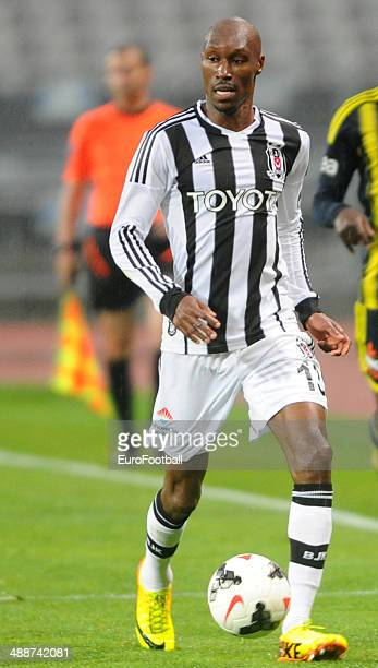 Atiba Hutchinson of SK Besiktas JK in action during the Turkish Super League match between Besiktas and Fenerbahce at the Ataturk Olympic Stadium on...