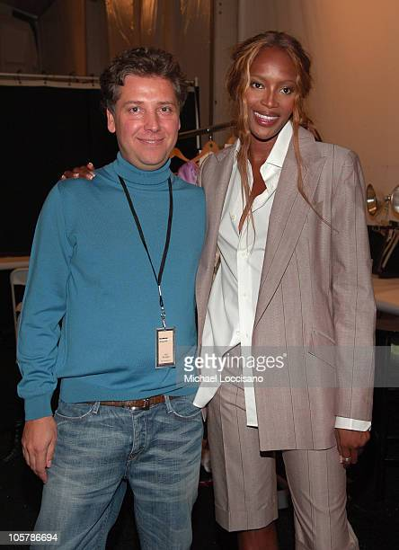 Atil Kutoglu and Naomi Campbell during Olympus Fashion Week Spring 2006 Atil Kutoglu Backstage at Bryant Park in New York City New York United States
