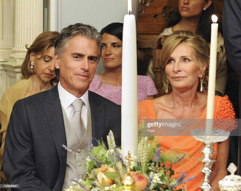 Atilio Brillembourg and Marie-Blanche Brillembourg (R) attend the wedding ceremony of their daughter Tatiana Blatnik to Prince Nikolaos of Greece in the Cathedral of Ayios Nikolaos (St. Nicholas) on August 25, 2010 in Spetses, Greece. Representatives from Europe�s royal families have joined the many guests who have travelled to the island to attend the wedding of Prince Nikolaos of Greece, the second son of King Constantine of Greece and Queen Anne-Marie of Greece and Tatiana Blatnik an events planner for Diane Von Furstenburg in London.