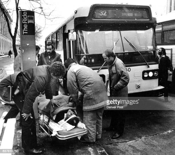 1 2 Three RTD bus passengers were injured apparently none seriously 3 when a bus bit a slick spot on a downtown street and slide into a 4 curb about...