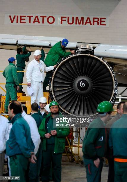 CAPODICHINO NAPLES CAMPANIA ITALY Atitech workers work on a motor of one Alitalia airplane in Atitech Factory in the airport of Capodichino in Naples