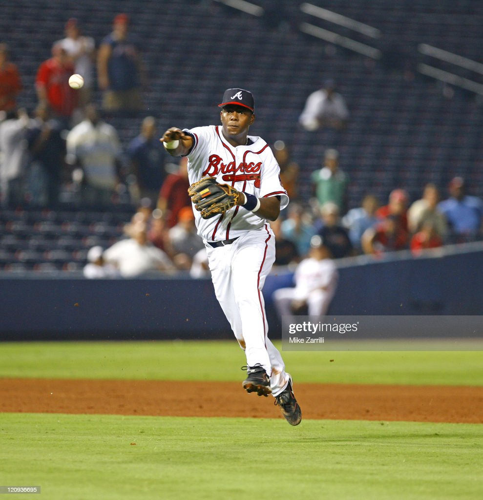 Atlanta Brave Edgar Renteria gets the final out of the game against the San Francisco Giants at Turner Field in Atlanta, Georgia on August 30, 2006.