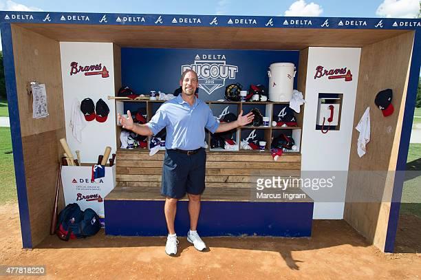Atlanta Brave legend John Smoltz surprises fans in Piedmont Park as part of Delta Air Lines' seasonlong Delta Dugout Initiative on June 19 2015 in...