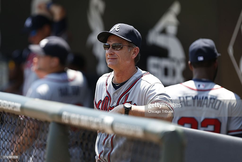 Atlanta Braves assistant hitting coach Scott Fletcher is shown prior to a game against the Chicago White Sox at U.S. Cellular Field in Chicago, Illinois, Sunday, July 21, 2013.