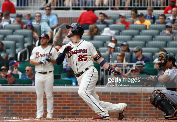 Atlanta Braves catcher Tyler Flowers during the second inning during the MLB game between the Atlanta Braves and the Miami Marlins on August 6 2017...