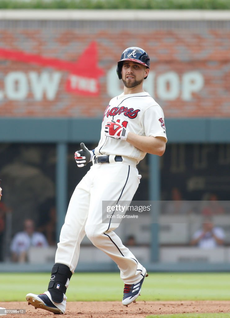 Atlanta Braves center fielder Ender Inciarte (11) pulls up to second base during the MLB game between the Atlanta Braves and the Miami Marlins on August 6, 2017 at SunTrust Park in Atlanta, GA. The Marlins beat the Braves 4-1 to take one game in the three game series.