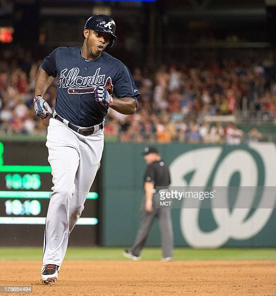 Atlanta Braves left fielder Justin Upton rounds the bases after hitting the gamewinning home run off Washington Nationals relief pitcher Tyler...
