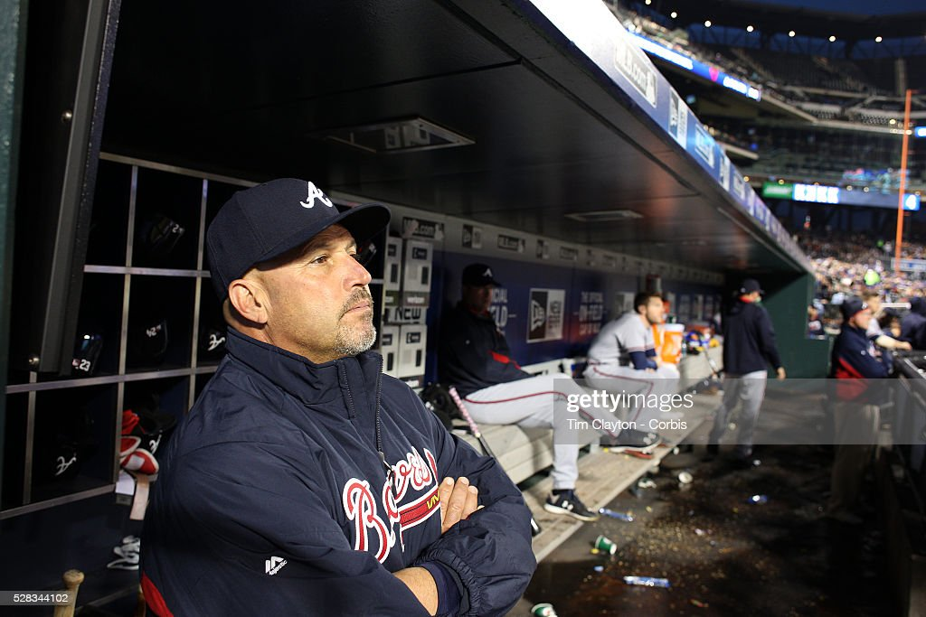 Atlanta Braves Manager Fredi Gonzalez in the dugout during the Atlanta Braves Vs New York Mets MLB regular season game at Citi Field on May 02, 2016 in New York City.