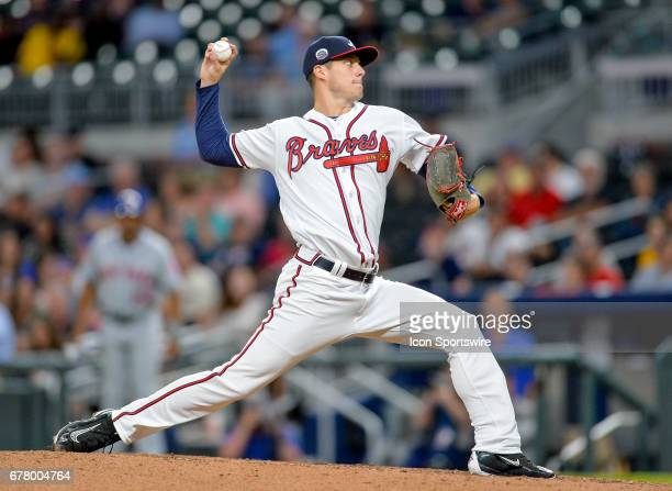Atlanta Braves relief pitcher Matt Wisler throws a pitch during a game between the Atlanta Braves and New York Mets on May 2 2017 at SunTrust Park in...