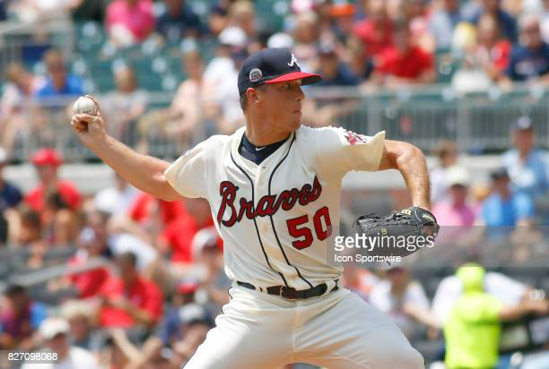 Atlanta Braves rookie pitcher Lucas Sims during the MLB game between the Atlanta Braves and the Miami Marlins on August 6 2017 at SunTrust Park in...