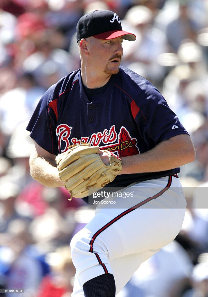 Atlanta Braves starting pitcher John Thompson during the first inning against the Los Angeles Dodgers at Cracker Jack Stadium in Kissimmee Florida...