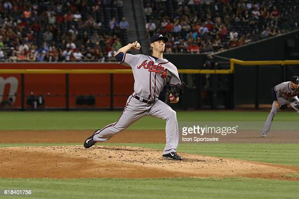 Atlanta Braves starting pitcher Matt Wisler on the mound during the Major League Baseball game between the Atlanta Braves and Arizona Diamondbacks at...