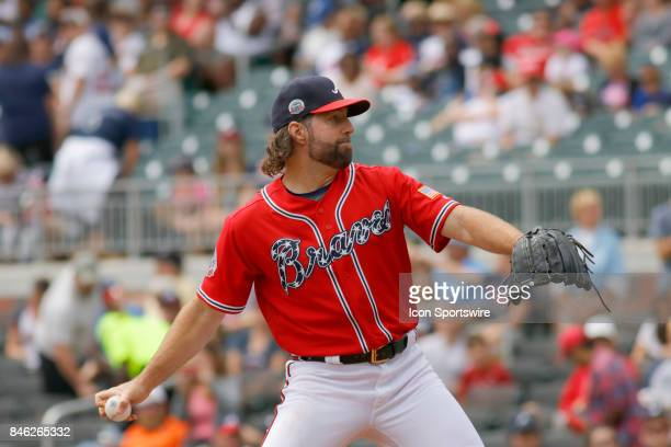 Atlanta Braves starting pitcher RA Dickey during the major league baseball game between the Atlanta Braves and the Miami Marlins on September 10 at...