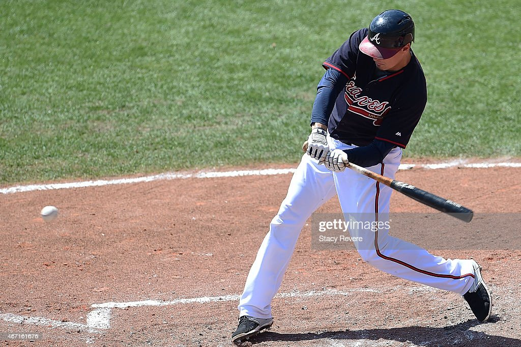 Atlanta Braves swings at a pitch during the fourth inning of a spring training game against the Washington Nationals at Champion Stadium on March 21, 2015 in Lake Buena Vista, Florida.