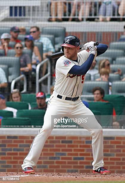 Atlanta Braves third baseman Freddie Freeman bats during the MLB game between the Atlanta Braves and the Miami Marlins on August 6 2017 at SunTrust...